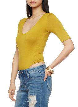 Short Sleeve Solid V Neck Bodysuit - 1402062705322