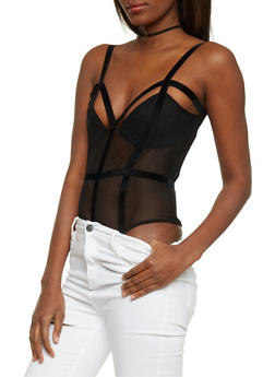 Mesh Bodysuit with Faux Suede Caging - 1402062706484