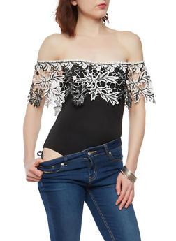 Crochet Off the Shoulder Bodysuit - 1402062706535