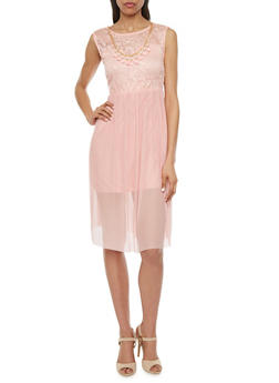 Lace-Bodice Dress with Necklace - 1402065622495