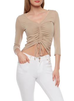Ruched Drawstring Front Top - 1402066490228