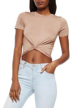 Soft Knit Twist Front Crop Top - 1402066490761