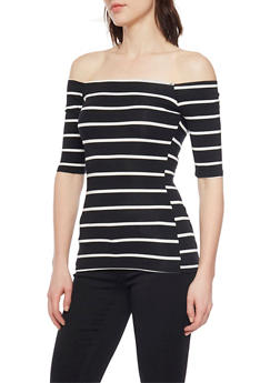 Off the Shoulder Striped Top with Short Sleeves - 1402066490929