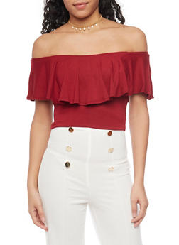 Off The Shoulder Ruffled Top - BURGUNDY - 1402066490958