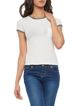 Striped Contrast Trim T Shirt - WHITE - 1402066491645