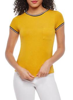Striped Contrast Trim T Shirt - 1402066491645