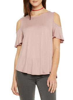Solid Flutter Sleeve Cold Shoulder Top - 1402066491675