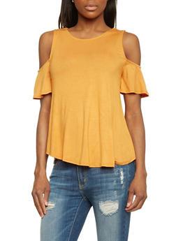 Solid Flutter Sleeve Cold Shoulder Top - 1402066491675