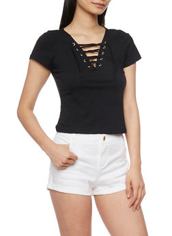 Short Sleeve Lace Up V Neck T Shirt - 1402066491685