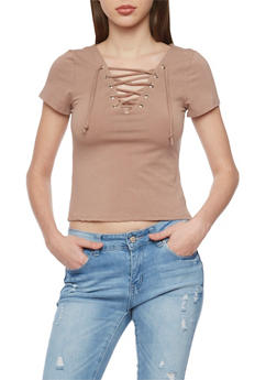 Short Sleeve Lace Up V Neck T Shirt - TAUPE - 1402066491685
