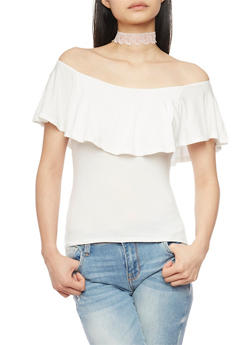 Off the Shoulder Top with Ruffle Overlay - WHITE - 1402066491905