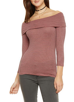 Striped 3/4 Sleeve Off The Shoulder Top - 1402066491918