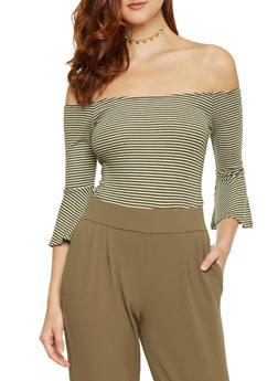 Hairline Striped Off the Shoulder Top - 1402066491924