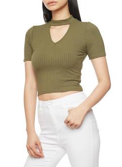 Short Sleeve Rib Knit Choker Top with Keyhole - OLIVE - 1402066491935