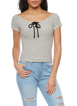 Striped Ribbed Off The Shoulder Crop Top - 1402066491944
