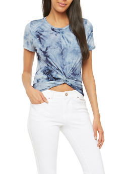 Tie Dye Twist Front Crop Top - 1402066493073