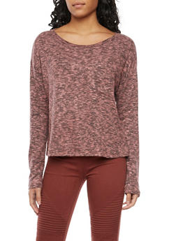 Marled Top with Long Sleeves and Scoop Neck - 1402066494214