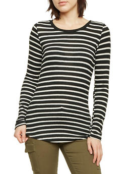 Striped Sweater with Scoop Neck - 1402066497050