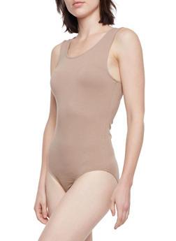 Sleeveless Bodysuit with Caged Back - 1402066497439