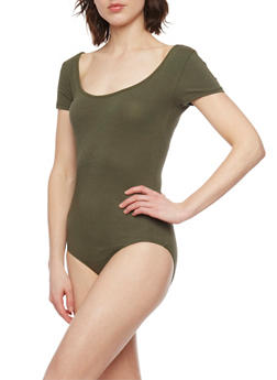 Short Sleeve Scoop Neck Bodysuit - 1402066497899