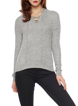 Lace Up Hoodie - HEATHER - 1402066498195