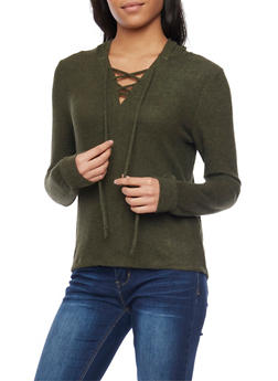 Lace Up Hoodie - OLIVE - 1402066498195
