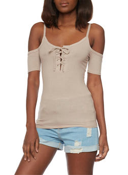 Cold Shoulder Tank Top with Lace Up Front - 1402066498310