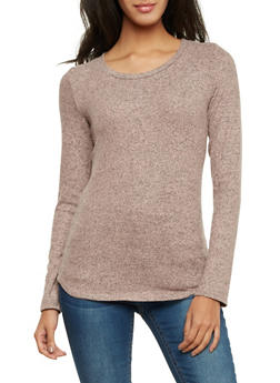 Marled Knit Top with Long Sleeves - BLUSH - 1402066498705