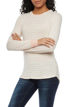 Striped Crew Neck Top with Contrast Trim Sleeves - 1402066498787