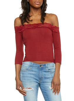 Lace Trimmed Off the Shoulder Top - 1402066499049