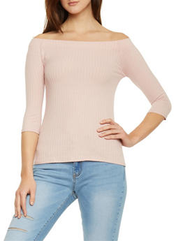 Rib Knit 3/4 Sleeve Off The Shoulder Top - 1402066499056