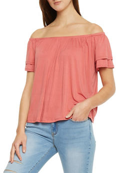 Off The Shoulder Layered Short Sleeve Knit Shirt - 1402066499256
