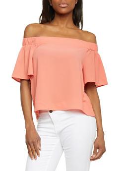 Short Sleeve Off Shoulder Crepe Knit Top - 1402066499401