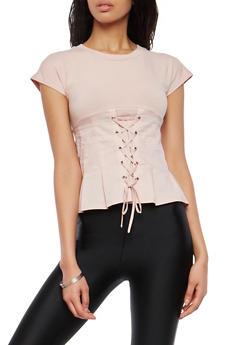 Lace Up Front T Shirt - 1402068191905