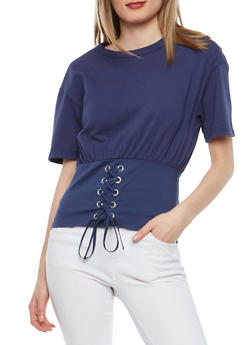 Lace Up Corset Waist T Shirt - 1402068191909