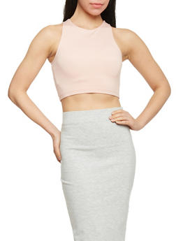 Sleeveless Crew Neck Crop Top - 1402068192079