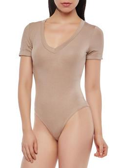Basic Short Sleeve Bodysuit - 1402068197504