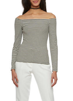 Striped Off the Shoulder Top - 1402068511235