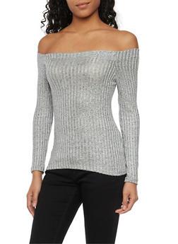 Off the Shoulder Top in Shimmer Knit - 1402068515123