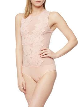 Floral Applique Mesh Bodysuit - 1402069390058