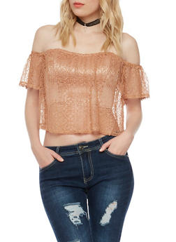 Off The Shoulder Crop Top with Mesh Overlay - 1402069390072