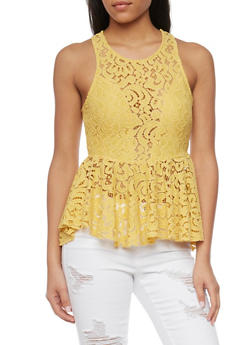 Sleeveless Lace High Low Peplum Top - YELLOW - 1402069390345