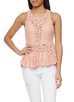 Sleeveless Lace High Low Peplum Top - BLUSH - 1402069390345