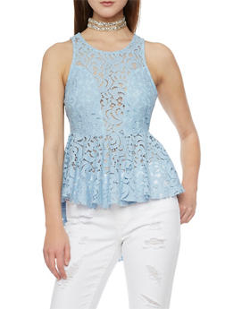 Sleeveless Lace High Low Peplum Top - 1402069390345