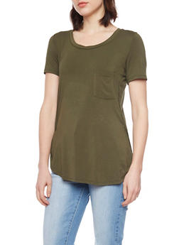 Pocket Tee with Side Slits - 1402069390394