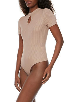 Rib Knit Bodysuit with Keyhole Cutout - 1402069390534