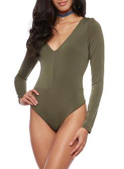 Long Sleeve Bodysuit with V Neck - 1402069390547