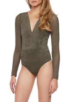 Faux Suede Bodysuit with Mesh Sleeves and V Neck - 1402069390700