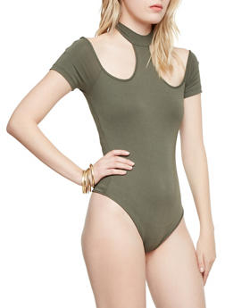 Mock Neck Bodysuit with Cutouts - 1402069390704