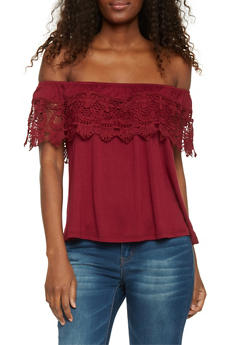 Off The Shoulder Top with Crochet Overlay - 1402069390758